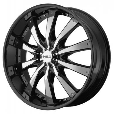 HELO WHEELS  HE875 GLOSS BLACK RIM with CHROME ACCENTS