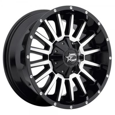 DROPSTARS WHEELS  646MB GLOSS BLACK WITH MACHINED FACE AND D-STAR CAP