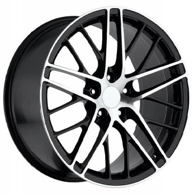 FACTORY REPRODUCTIONS WHEELS  CORVETTE C6 ZR1 2009 BLACK RIM with MACHINED FACE and LIP