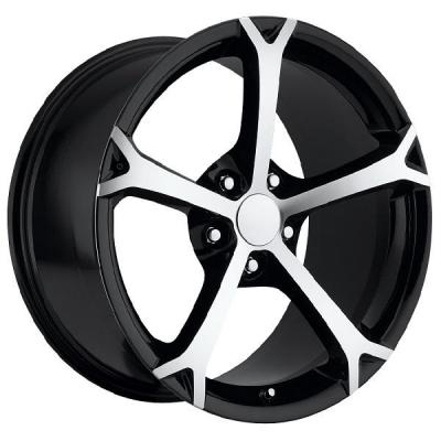 FACTORY REPRODUCTIONS WHEELS  CORVETTE C6 GRAND SPORT 2010 BLACK RIM with MACHINED FACE