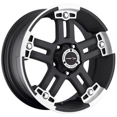 V-TEC WHEELS  WARLORD 394 RWD MATTE BLACK RIM with MACHINED FACE