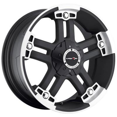 VISION WHEELS   WARLORD 394 RWD OFF-ROAD MATTE BLACK RIM with MACHINED FACE and COVERED CAP