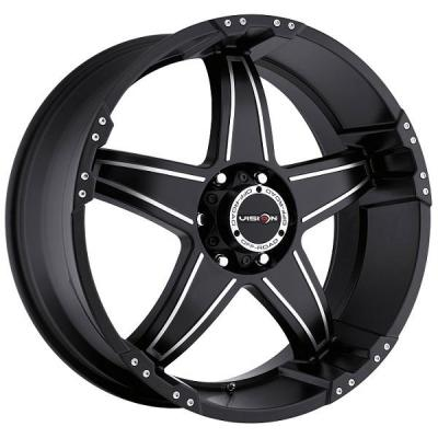 V-TEC WHEELS  WIZARD 395 RWD MATTE BLACK RIM with MACHINED FACE
