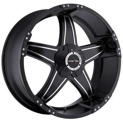 V-TEC WHEELS  WIZARD 395 RWD MATTE BLACK RIM with MACHINED FACE and COVERED CAP