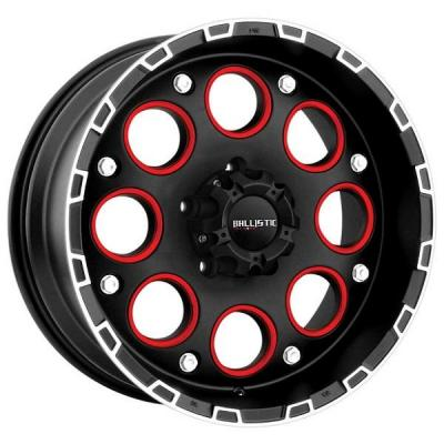 BALLISTIC WHEELS  ENIGMA 813 FLAT BLACK with RED INSERTS