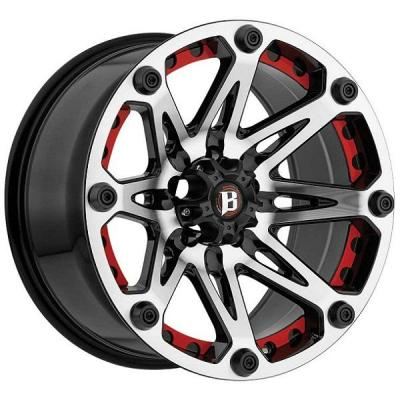 BALLISTIC WHEELS  JESTER 814 GLOSS BLACK RIM with MACHINED FACE and RED INSERTS