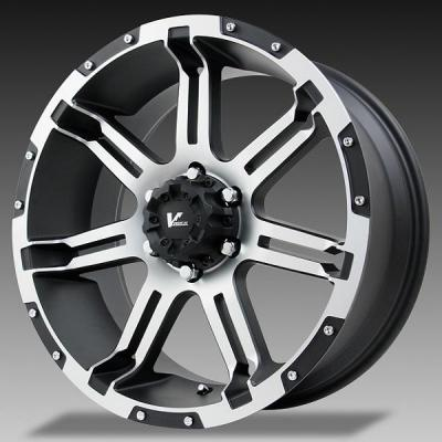 V-ROCK WHEELS  VR1 OVERDRIVE BLACK RIM with MACHINED FACE