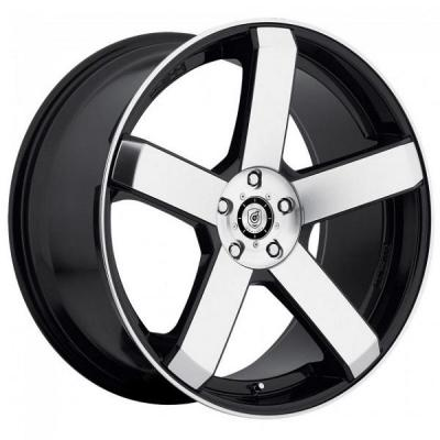 DROPSTARS WHEELS  644MB GLOSS BLACK RIM with MACHINED FACE and LIP EDGE