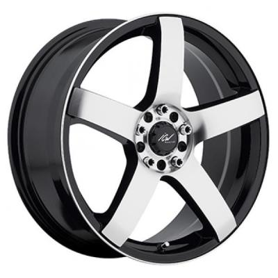 ICW WHEELS  216MB MACH 5 GLOSS BLACK RIM with MACHINED FACE and LIP EDGE
