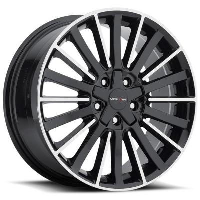 VISION WHEELS  CONDUIT 466 GLOSS BLACK RIM with MACHINED FACE