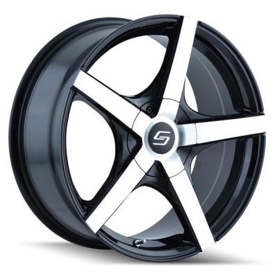 SACCHI WHEELS  S72 BLACK RIM with MACHINED FACE