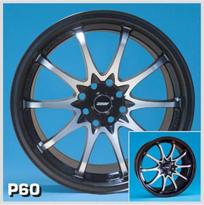 ZOOM WHEELS  P60 BLACK RIM with MACHINED FACE