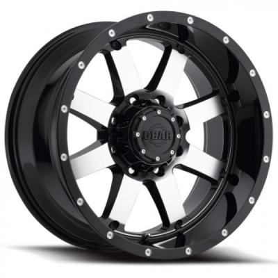 SPECIAL BUY WHEELS  GEAR ALLOY 726M BIG BLOCK GLOSS BLACK with MACHINED FACE PPT