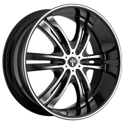 DUB WHEELS  PHASE 6 S108 BLACK RIM with MACHINED FACE and LIP
