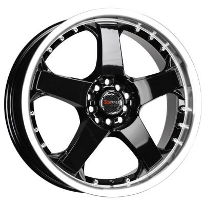 DRAG WHEELS  DR11 GLOSS BLACK RIM with MACHINED LIP