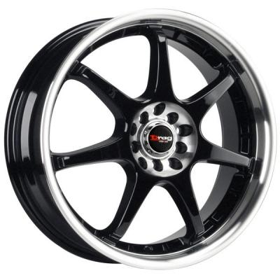 DRAG WHEELS  DR51 GLOSS BLACK RIM with MACHINED LIP