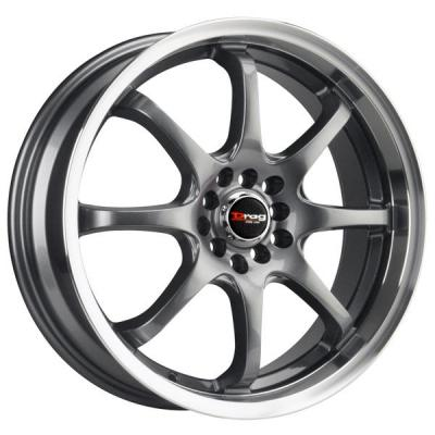 DRAG WHEELS  DR55 GUNMETAL RIM with MACHINED LIP