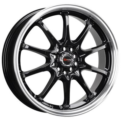 DRAG WHEELS  DR9 GLOSS BLACK RIM with MACHINED LIP