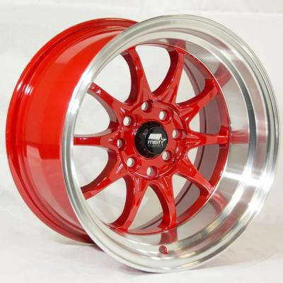MST WHEELS  MT11 RED RIM with MACHINED LIP