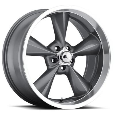 B&G ROD WORKS WHEELS  OLD SCHOOL GUNMETAL RIM with MACHINED LIP
