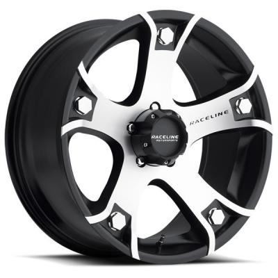RACELINE WHEELS   926M GUNNER BLACK RIM with MACHINED FACE