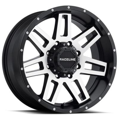 RACELINE WHEELS   931M INJECTOR BLACK RIM with MACHINED FACE