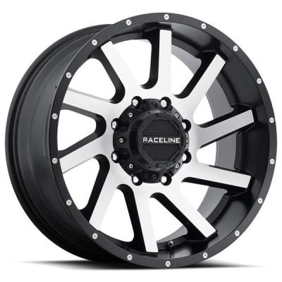 RACELINE WHEELS   932M TWIST SATIN BLACK RIM with MACHINED FACE