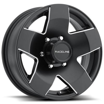 RACELINE WHEELS   855 TRAILER BLACK RIM with MACHINED ACCENTS