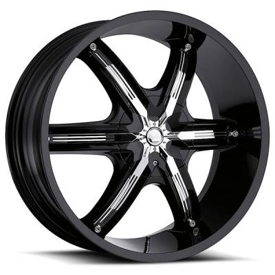 MILANNI WHEELS  BEL AIR 6 460 RWD GLOSS BLACK RIM with CHROME INSERTS