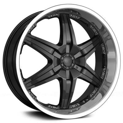 DIP WHEELS  WICKED D39 BLACK RIM with MACHINED LIP