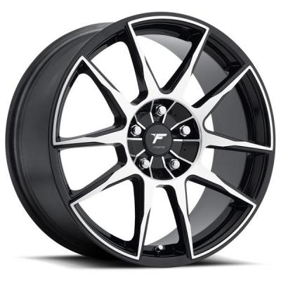 FORTE WHEELS   F72 BLACK-OUT BLACK RIM with MACHINED FACE