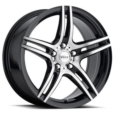SPECIAL BUY WHEELS  VOXX CAPRI GLOSS BLACK RIM with MACHINED FACE and BLACK LIP PPT