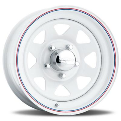 U.S. WHEEL  8-SPOKE 70 SERIES WHITE RIM with RED and BLUE PINSTRIPE