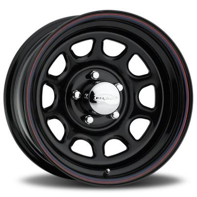 U.S. WHEEL  DAYTONA 84 SERIES GLOSS BLACK RIM with RED and BLUE PINSTRIPE