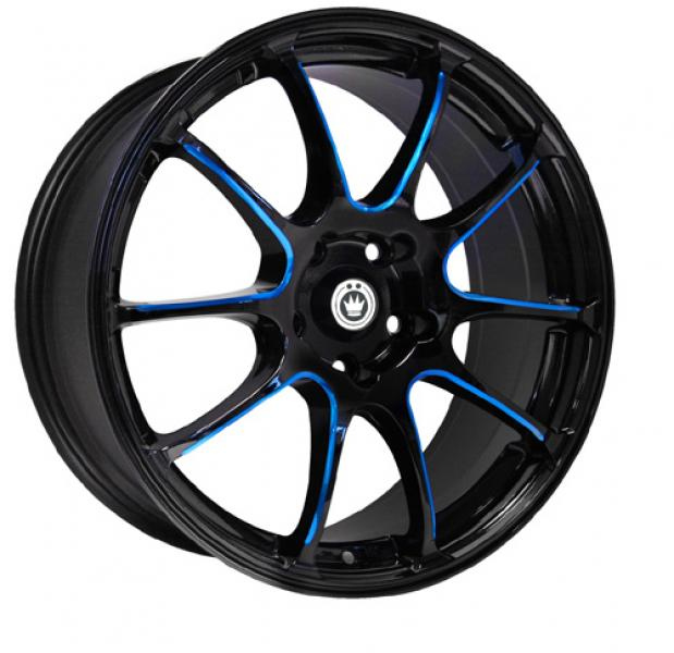 ILLUSION BLACK BLUE BALL CUT MACHINED SPOKES by KONIG WHEELS