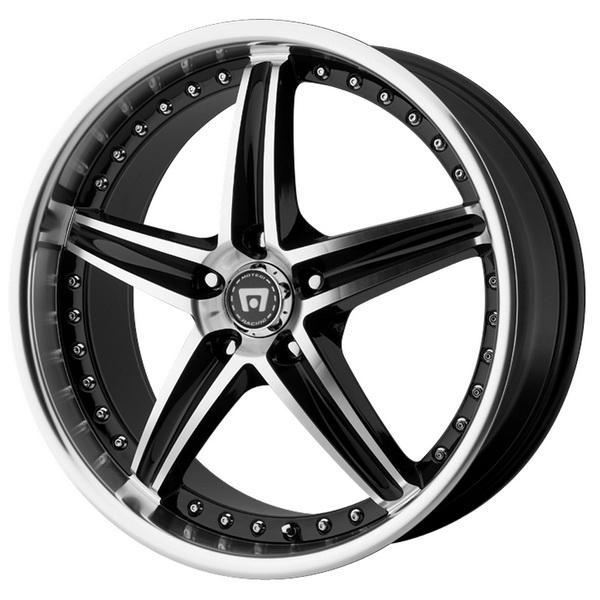MR107 GLOSS BLACK RIM with MACHINED FACE by MOTEGI RACING WHEELS