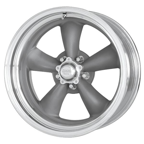 VNCL205 CLASSIC TORQ THRUST II GRAY WHEEL with POLISHED RIM by AMERICAN RACING WHEELS