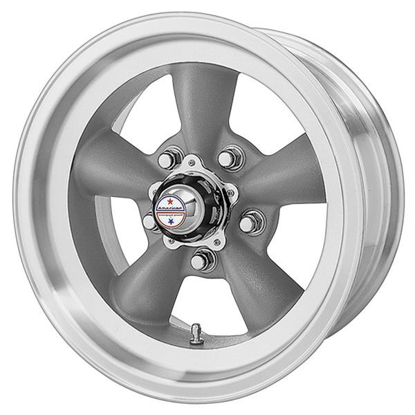 VN105D TORQ THRUST D GRAY RIM with MACHINED LIP by AMERICAN RACING WHEELS