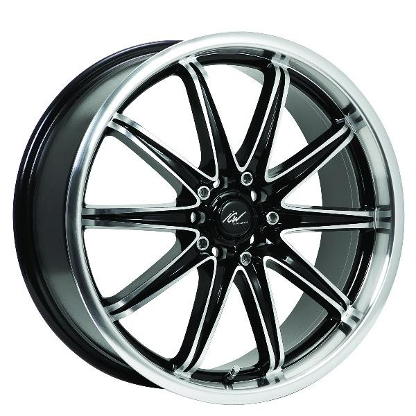214MB TSUNAMI BLACK RIM with MIRROR MACHINED LIP and SPOKE ACCENTS by ICW WHEELS