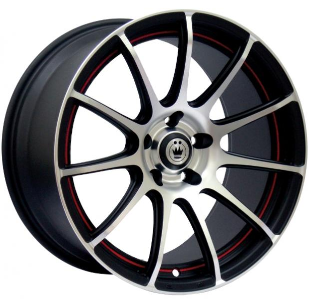 Z-IN MATTE BLACK RIM with MACHINED FACE with RED UNDERCUT by KONIG WHEELS