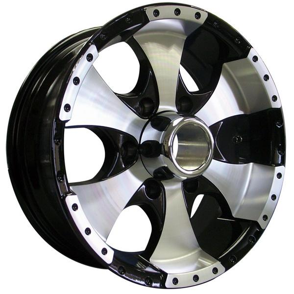 STYLE 136 BLACK TRAILER RIM with MACHINED FACE by ION TRAILER WHEELS