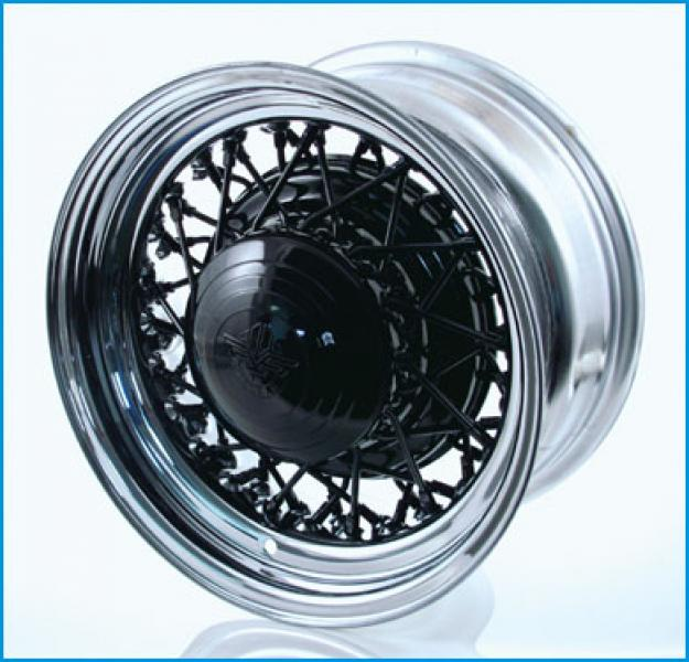 52 SPOKEWIRE WHEEL with BLACK CENTER by MCLEAN WIRE WHEELS