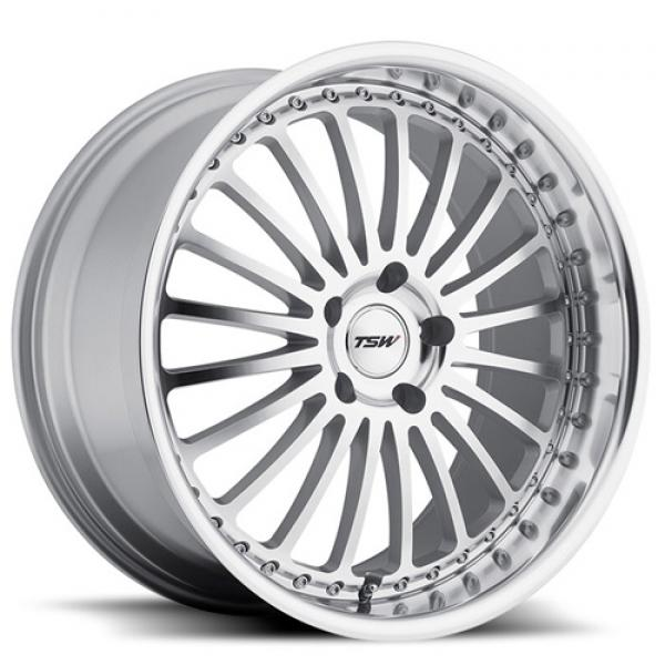 SILVERSTONE SILVER RIM with MIRROR CUT FACE and LIP by TSW WHEELS