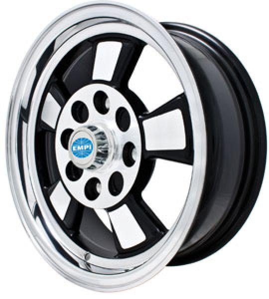 RIVIERA GLOSS BLACK RIM with POLISHED LIP and SPOKES by EMPI VINTAGE VW