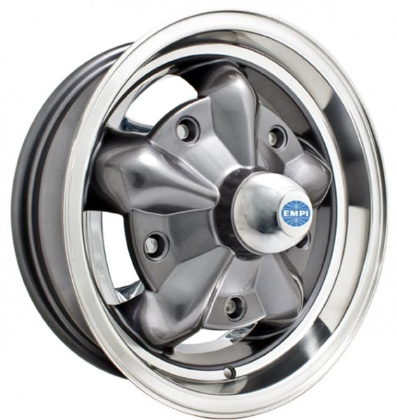 TORQUE STAR ANTHRACITE RIM with POLISHED LIP by EMPI VINTAGE VW
