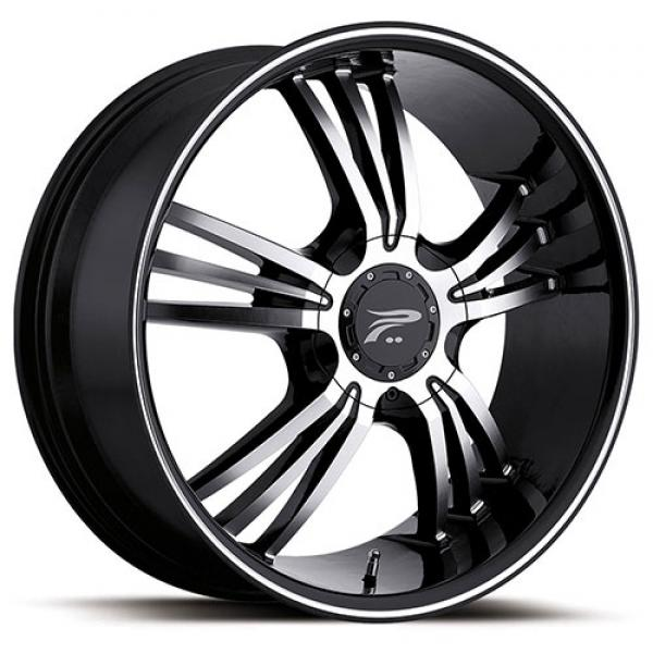 WOLVERINE 122 GLOSS BLACK RIM with DIAMOND CUT ACCENTS by PLATINUM WHEELS