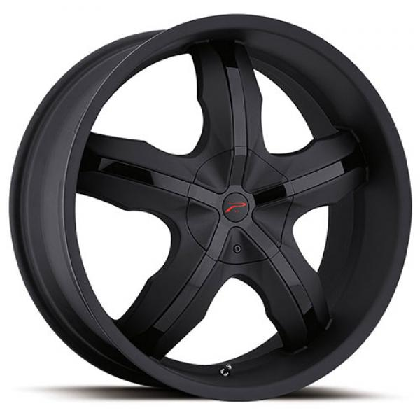 WIDOW 212 MATTE BLACK RIM with GLOSS BLACK INSERTS by PLATINUM WHEELS