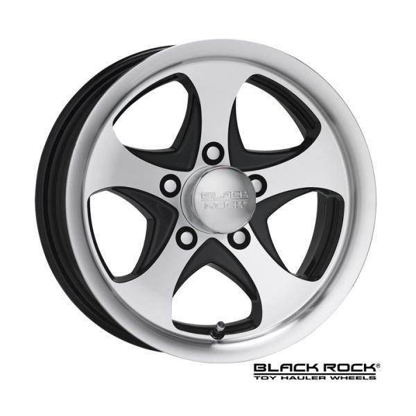 921MB INTREPID TOY HAULER ALUMINUM MACHINED RIM with BLACK ACCENTS by BLACK ROCK WHEELS