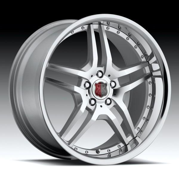 RW2 SILVER DIAMOND CUT RIM with CHROME LIP by RODERICK LUXURY WHEELS