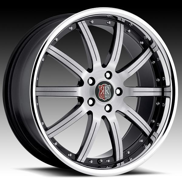 RW3 BRUSHED RIM with CHROME LIP and BLACK ACCENTS by RODERICK LUXURY WHEELS